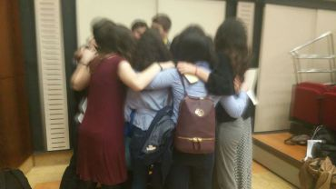 Spontaneous group hug